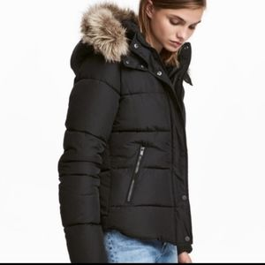8 H&M Puffer Quilted Gold Metal Faux Fox Fur Hood